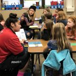 SAHS leadership students reading their children's stories to Oak Elementary students.