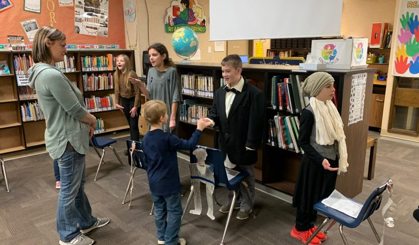 5th graders in character for their Wax Museum